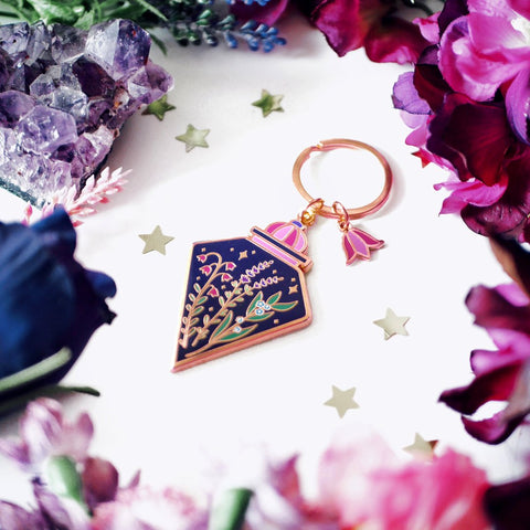(Seconds Sale) Botanical Potion Bottle Enamel Keyring