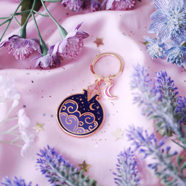 Night Sky Potion Bottle Enamel Keyring
