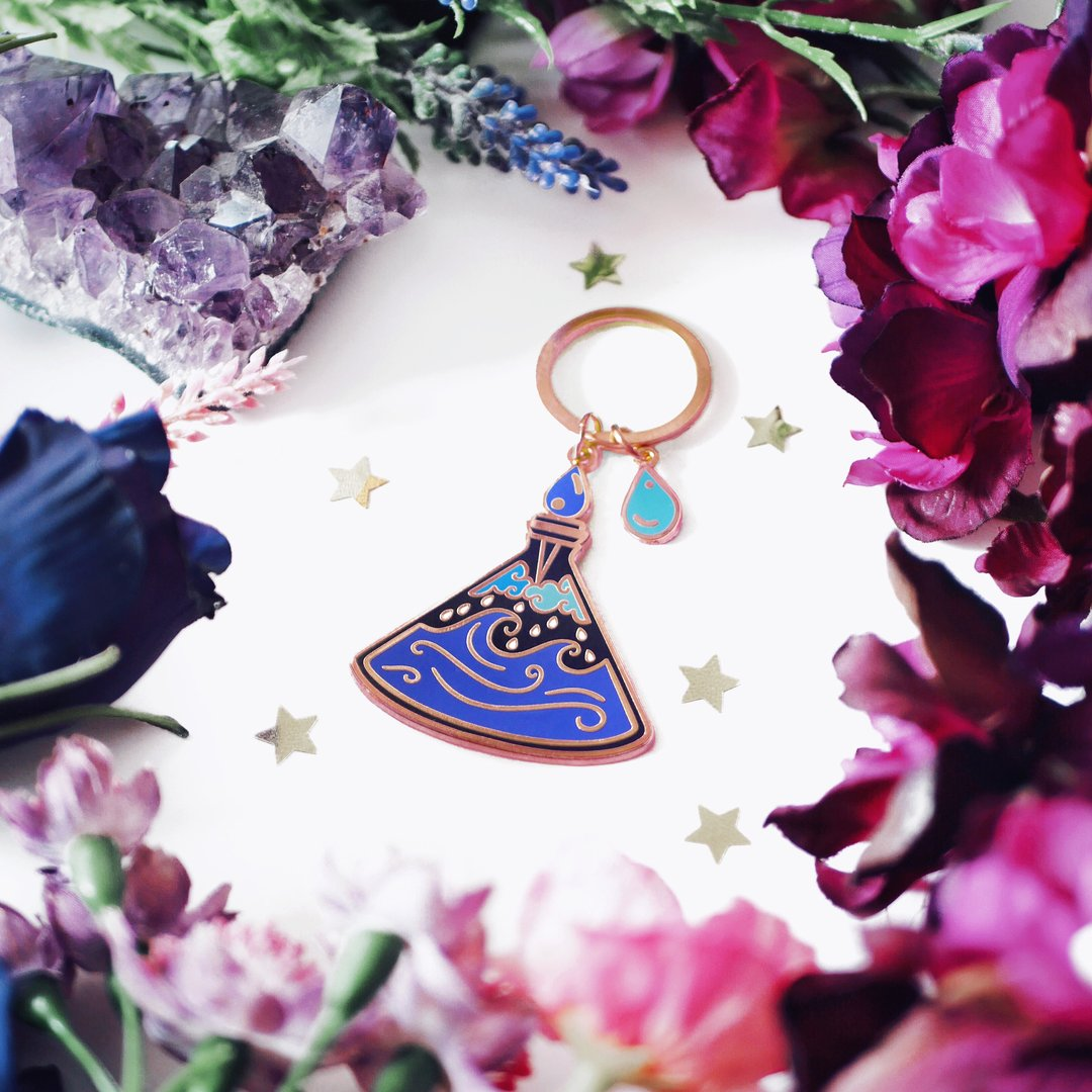 Calming Potion Bottle Enamel Keyring