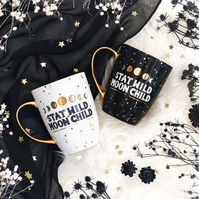 Stay Wild Moon Child Mugs Set - Black & White
