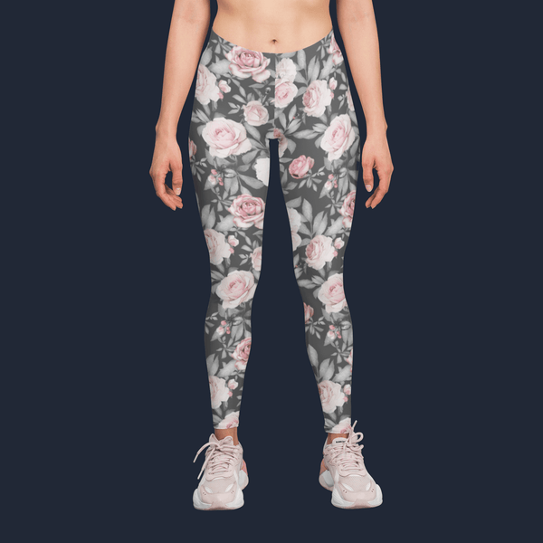 Pink Flower Leaves Yoga Pants