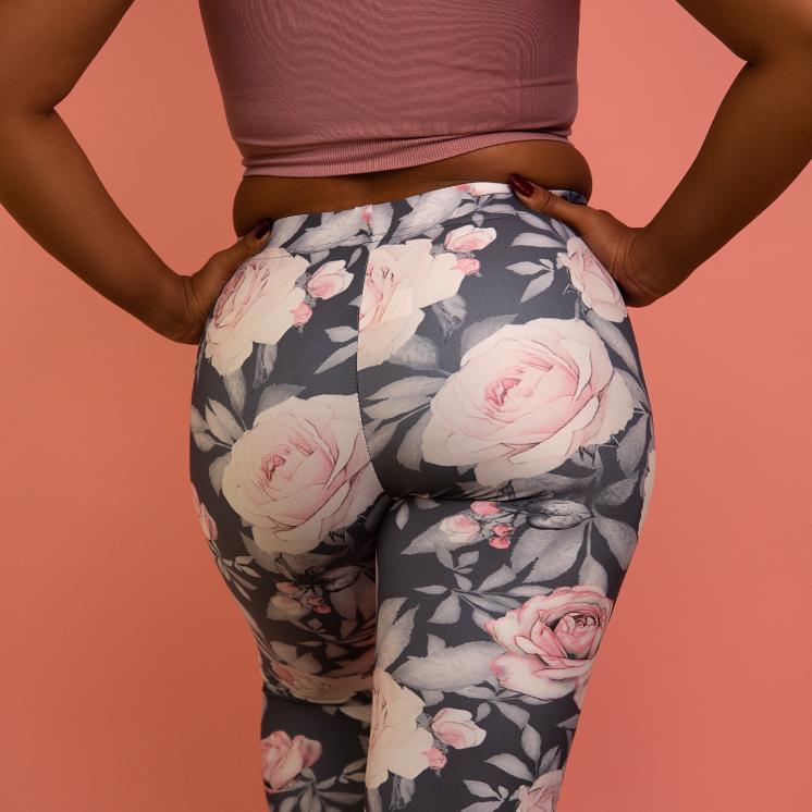 Pink Flower Leaves Yoga Pants For Girls