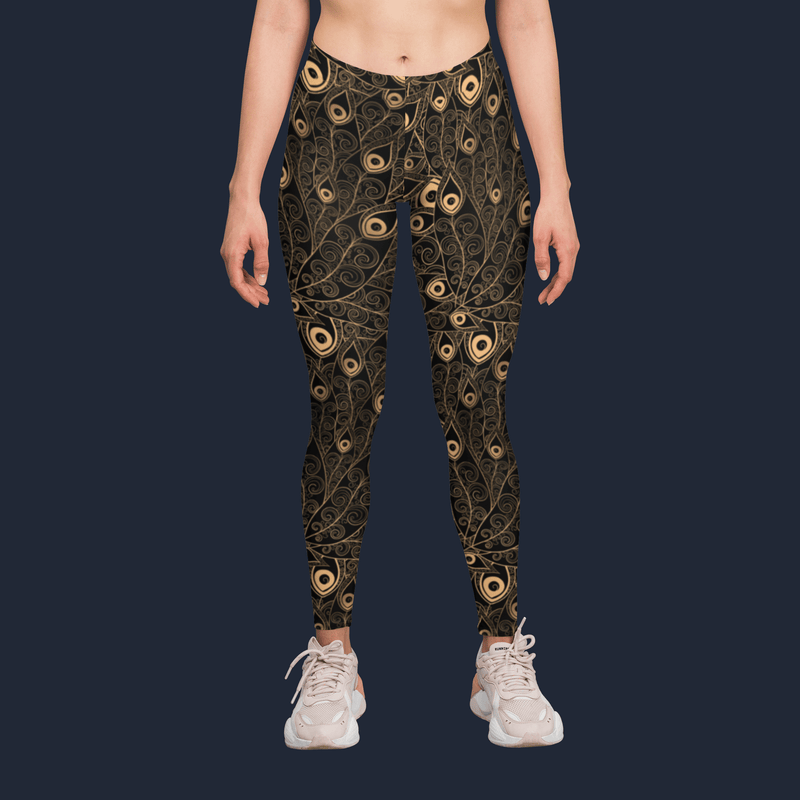 Gold-Black Feathers Yoga Pants
