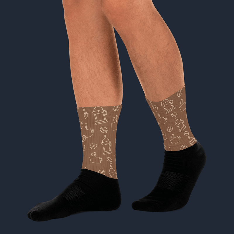 Lineal Coffee Pattern Sublimated Socks