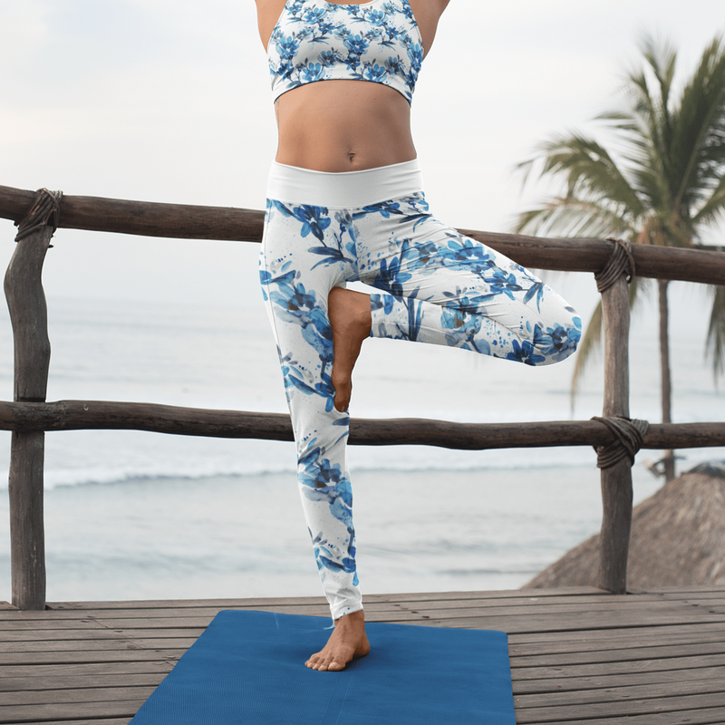 Watercolor Flower Yoga Pants For Girls