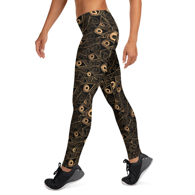 Gold-Black Feathers Yoga Pants Womens