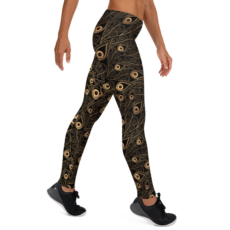Gold-Black Feathers Hot Yoga Pants