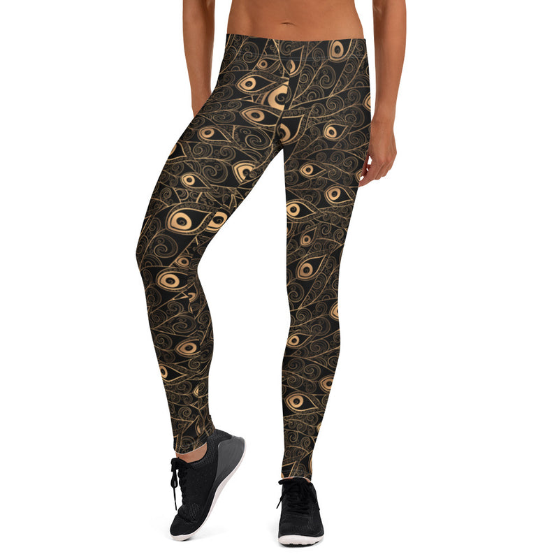 Gold-Black Feathers Yoga Apparel