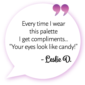 "Leslie D. says: ""Every time I wear this palette, I get compliments... 'Your eyes look like candy!' """