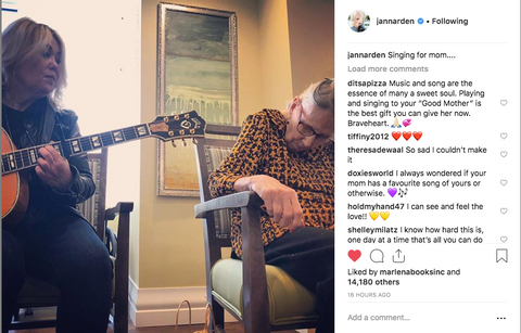 Jann Arden playing music to Mom while she wears Monarch Open-Back blouse