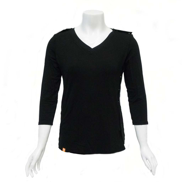 Jet Black Easy-On T-Shirt with 3/4 Sleeves