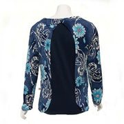 Denim Flowers Open-Back Blouse