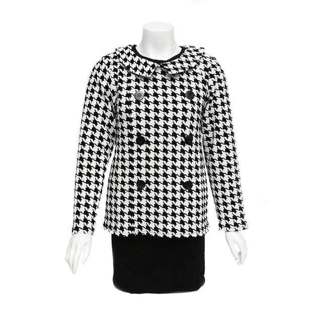 Jackie Houndstooth Open-Back Blouse