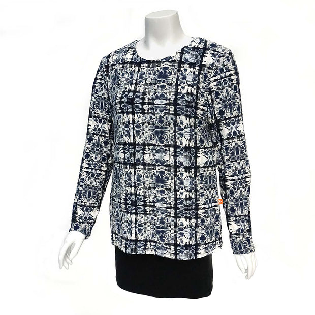 Blue Geo Open-Back Blouse