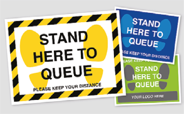 Queue Here Floor Stickers. Social Distancing Supplies