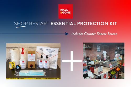 Bean & Gone Shop Business Restart Essential Protection Kit. PPE Supplies