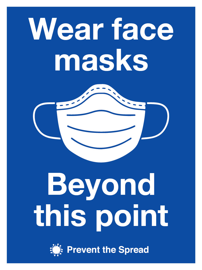 Wear Face Masks Beyond This Point Sign. Social Distancing Supplies