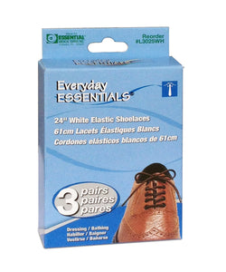 L3026WH Everyday Essentials Elastic Shoelace 32in White - 3 pr
