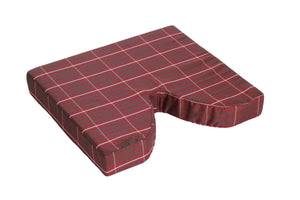 N1002P Plaid Coccyx Cushion w- Masonite Insert - 18in x 16in x 3in