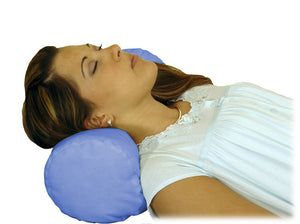 N5005 Round Cervical Pillow - Blue Satin