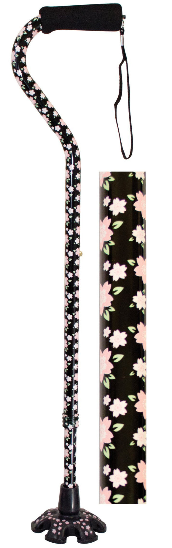 W1343P Couture Offset Cane with Matching Tip - Pink Floral