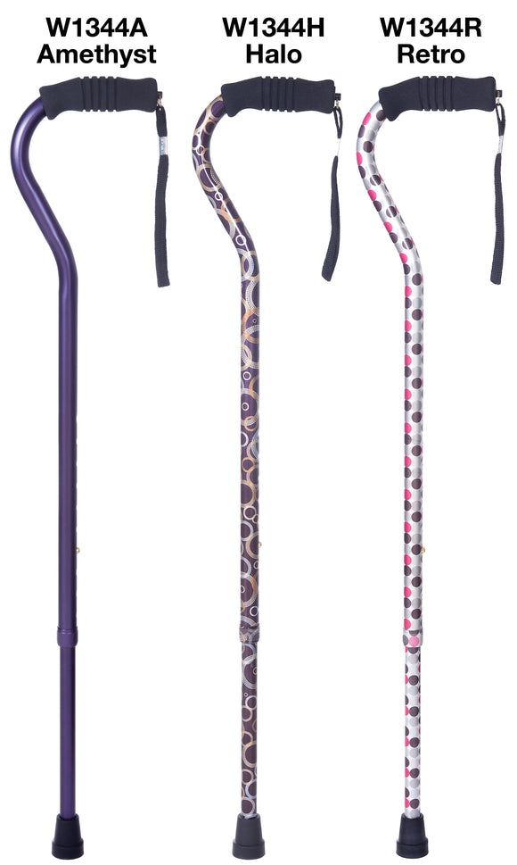 W1344MC Offset Cane with Ribbed Handle - Mixed Case: Amethyst