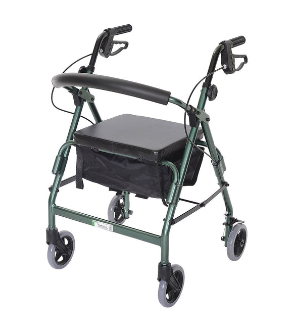 W1650FG-1 Featherlight 4 Wheel Walker w-Loop Hand Brakes - Forest Green