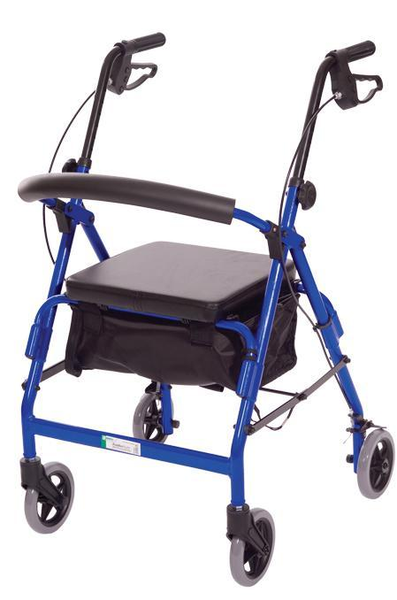 W1650R-1 Featherlight 4 Wheel Walker w-Loop Hand Brakes - Red