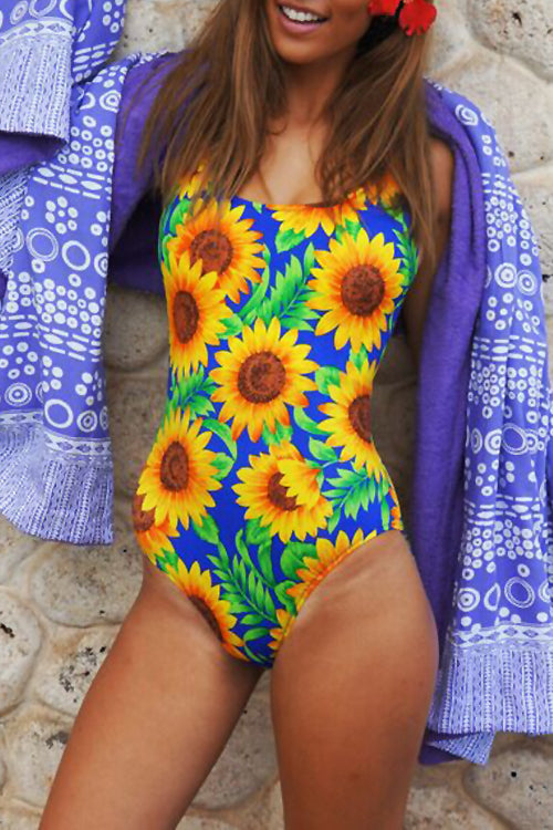 Balanla Sexy Square Collar Floral Printed One-piece Swimsuit