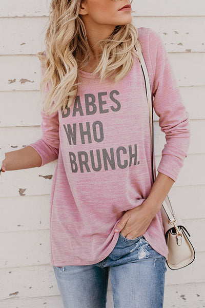 Balanla Casual Round Neck Letters Printed Pink T-shirt