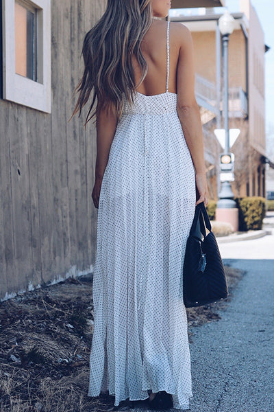 Balanla Bohemian V Neck Dot Printed White Chiffon Floor Length Dress
