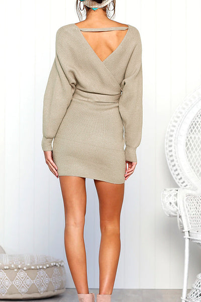 Balanla Leisure  Backless Hollow-out   Apricot  Mini Dress