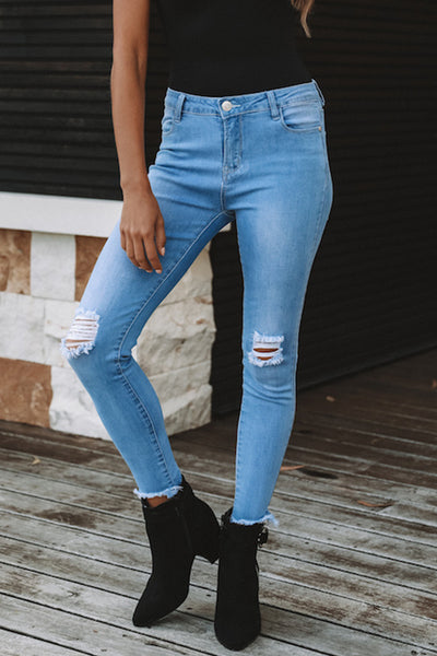 Balanla Trendy Broken Holes  Blue Denim Skinny Jeans