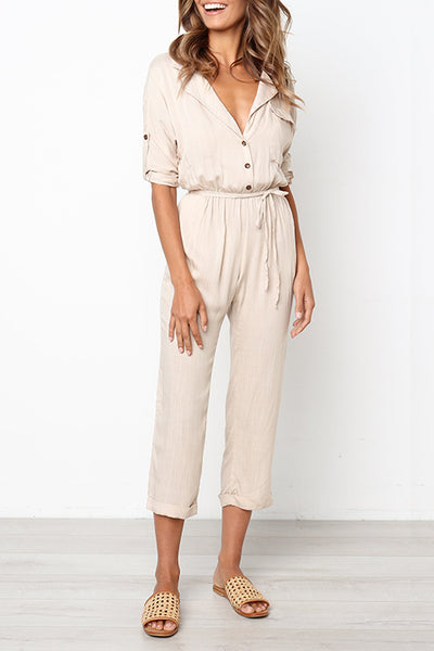 Balanla Casual Buttons Design Lace-up Apricot One-piece Jumpsuit