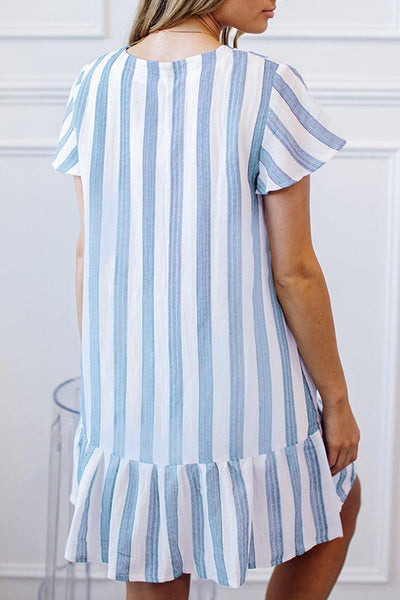 Balanla Casual Striped Buttons Design Blue Mini Dress