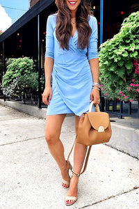 Balanla Long Sleeves Cross-over Design Blue Mini Dress
