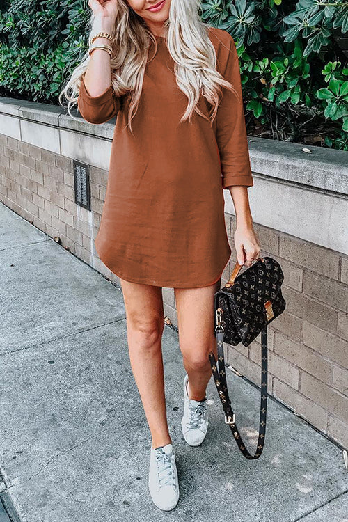 Balanla Casual  Long Sleeves Brown Cotton Blends Mini Dress
