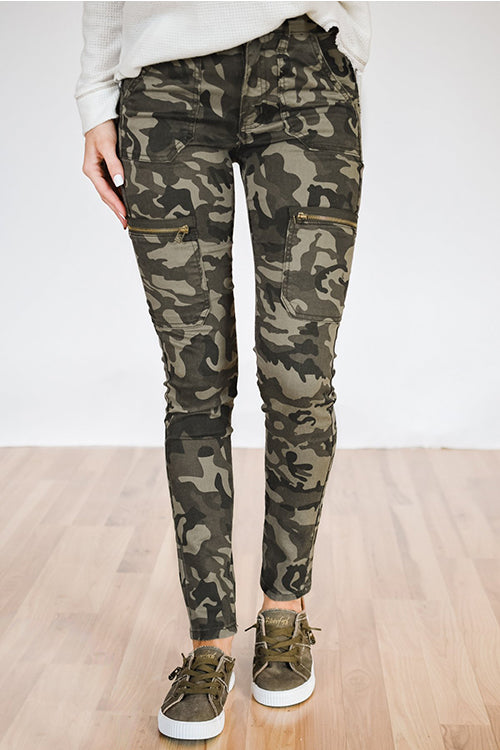 Balanla Casual Camouflage Printed Skinny Army Green Cotton Blends Pants