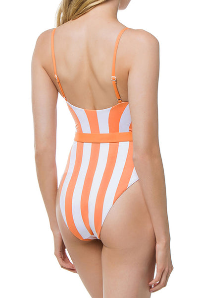 Balanla Chic Striped Skinny Orange One-piece Swimsuit