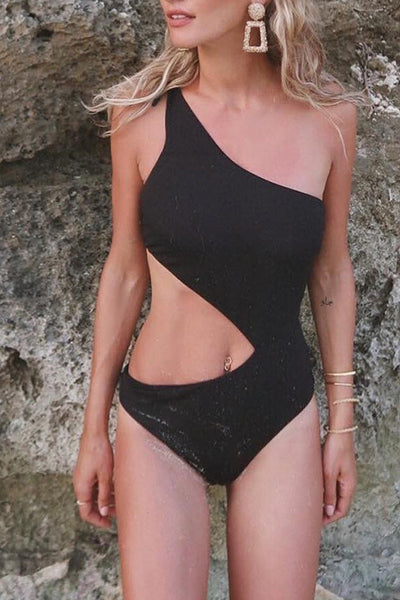 Balanla Casual Hollowed-out Black One-piece Swimsuit