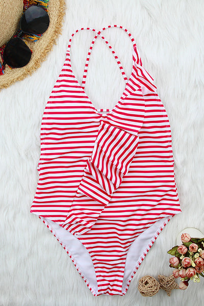 Balanla Casual Striped Rose Red One-piece Swimwears