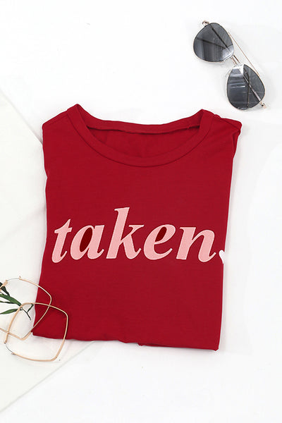 Balanla Casual Round Neck Letters Printed Red T-shirt