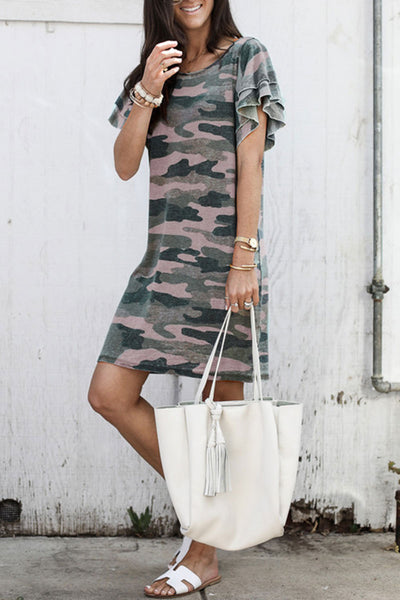 Balanla Camouflage Printed Mini Dress (2 Colors)