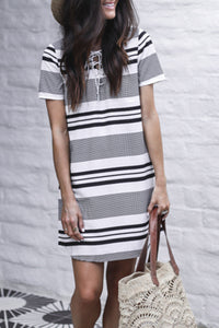 Balanla V Neck Black Striped Mini Dress