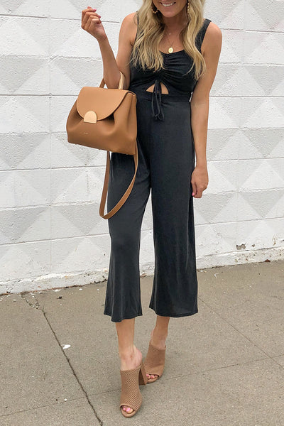 Balanla Casual Lace-up Hollow-out Black Jumpsuit