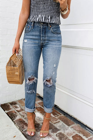 Balanla Broken Holes Denim Jeans