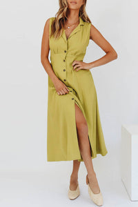 Balanla Buttones Down Design Light Green Midi Dress