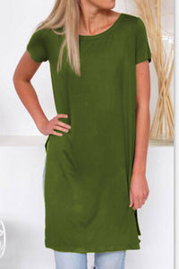 Balanla Casual Solid Army Green Mini Dress