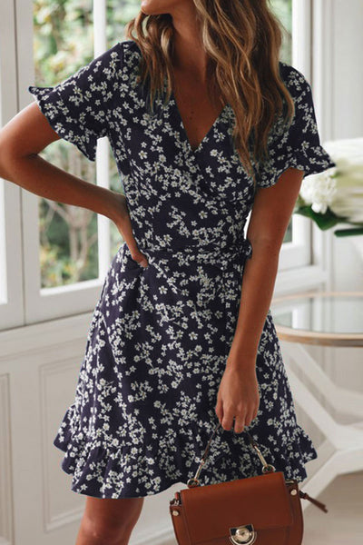 Balanla Floral Printed Waist Tie Navy Mini Dress