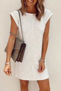 Balanla Solid White Casual Mini Dress